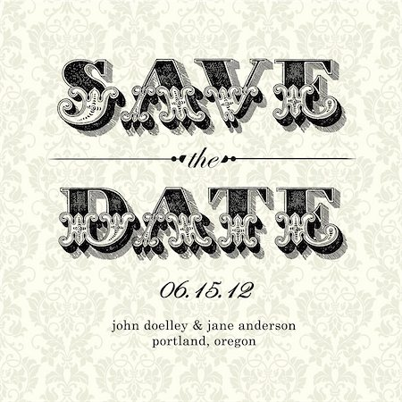 Vector Vintage Save the Date Card. Easy to edit. All pieces are separated. Stock Photo - Budget Royalty-Free & Subscription, Code: 400-05926805