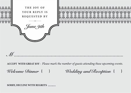 Vector Wedding Reply Card Template. Easy to edit. Stock Photo - Budget Royalty-Free & Subscription, Code: 400-05926801