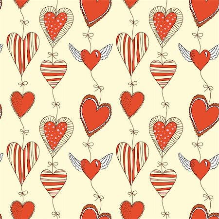 pretty background designs - Seamless cartoon romantic pattern with hearts on ropes with bows Stock Photo - Budget Royalty-Free & Subscription, Code: 400-05927832
