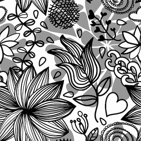 funky flower designs - Seamless black and white floral pattern with drops and design elements Stock Photo - Budget Royalty-Free & Subscription, Code: 400-05927864
