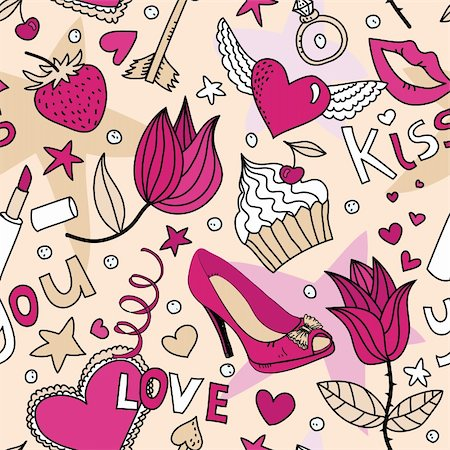 simsearch:400-04597082,k - seamless pattern with flowers, cakes,  shoes, lipstick, strawberry and other things Stock Photo - Budget Royalty-Free & Subscription, Code: 400-05927863