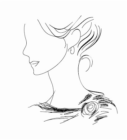female lips drawing - A hand-drawn woman profile sketch (eps 8) Stock Photo - Budget Royalty-Free & Subscription, Code: 400-05927919