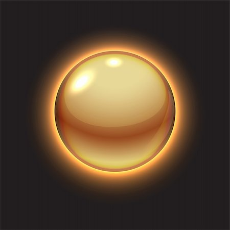 Golden glowing ball on black, vector illustration, eps10 Stock Photo - Budget Royalty-Free & Subscription, Code: 400-05927970