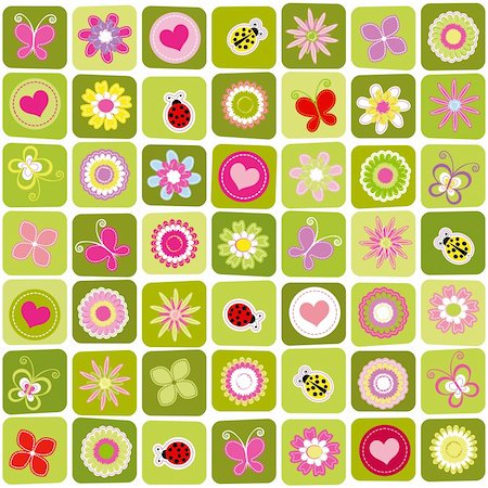 Abstract springtime colorful seamless pattern background Stock Photo - Budget Royalty-Free & Subscription, Code: 400-05928299