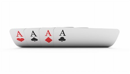 Illustration of four aces playing cards isolated on white background Stock Photo - Budget Royalty-Free & Subscription, Code: 400-05928328
