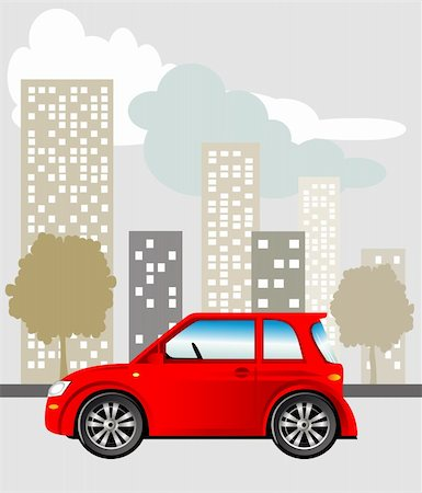 elakwasniewski (artist) - Red car parked on the street, vector illustration included Eps v8 and 300 dpi JPG Stock Photo - Budget Royalty-Free & Subscription, Code: 400-05928785