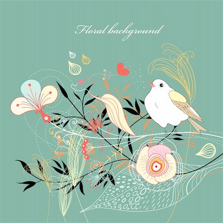 bright graphic floral background with a bird on a green Stock Photo - Budget Royalty-Free & Subscription, Code: 400-05928856
