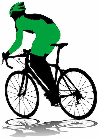 Vector drawing silhouette of a cyclist boy Stock Photo - Budget Royalty-Free & Subscription, Code: 400-05920170