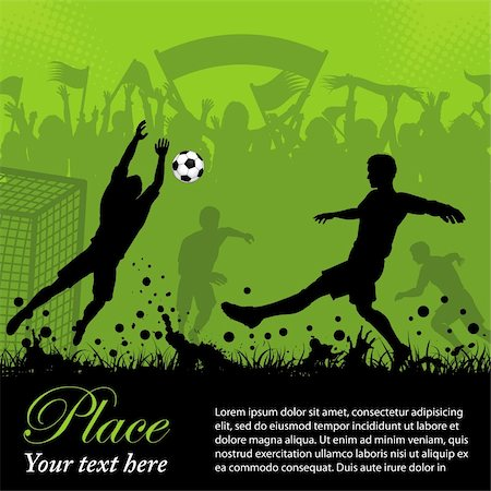 Soccer Poster with Players and Fans on grunge background, element for design, vector illustration Stock Photo - Budget Royalty-Free & Subscription, Code: 400-05920216