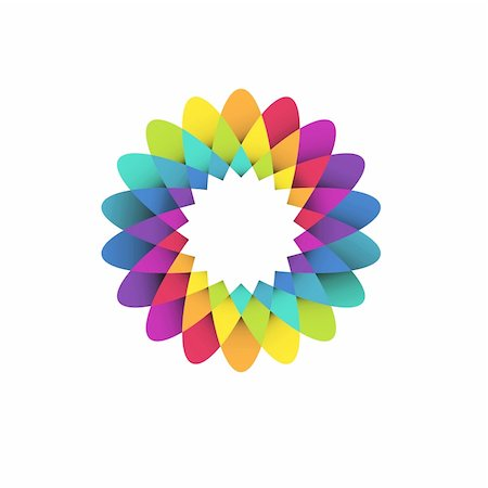 vector illustration of abstract geometric rainbow flower logo Stock Photo - Budget Royalty-Free & Subscription, Code: 400-05920392