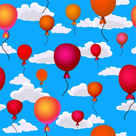 red balloons flying up in the sky seamless background Stock Photo - Budget Royalty-Free & Subscription, Code: 400-05920788