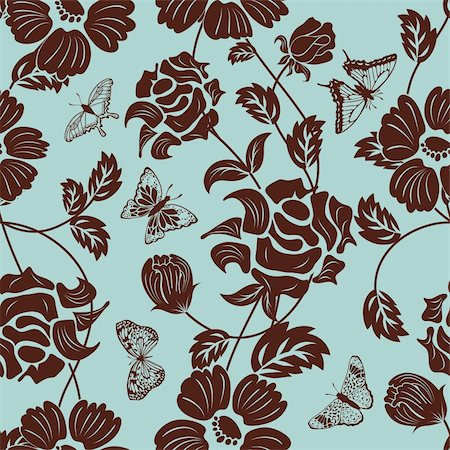 simsearch:400-04765926,k - Seamless vector floral pattern. For easy making seamless pattern just drag all group into swatches bar, and use it for filling any contours. Stock Photo - Budget Royalty-Free & Subscription, Code: 400-05920887