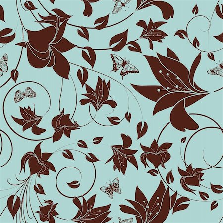 simsearch:400-04765926,k - Seamless vector floral pattern. For easy making seamless pattern just drag all group into swatches bar, and use it for filling any contours. Stock Photo - Budget Royalty-Free & Subscription, Code: 400-05920888
