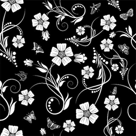 simsearch:400-04765926,k - Seamless vector floral pattern. For easy making seamless pattern just drag all group into swatches bar, and use it for filling any contours. Stock Photo - Budget Royalty-Free & Subscription, Code: 400-05920889