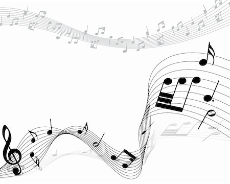 Vector musical notes staff background for design use Stock Photo - Budget Royalty-Free & Subscription, Code: 400-05920894