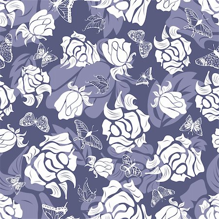 simsearch:400-04765926,k - Seamless vector floral pattern. For easy making seamless pattern just drag all group into swatches bar, and use it for filling any contours. Stock Photo - Budget Royalty-Free & Subscription, Code: 400-05920890