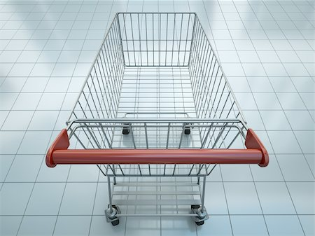 empty shopping cart - Empty shopping cart seen from shopper's perspective. 3D render. Stock Photo - Budget Royalty-Free & Subscription, Code: 400-05920926