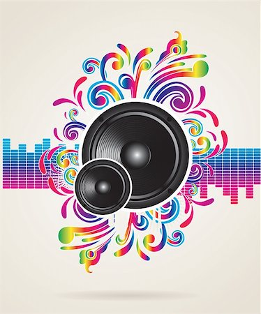 Music concept with equalizer and speaker, vector illustration Stock Photo - Budget Royalty-Free & Subscription, Code: 400-05921003