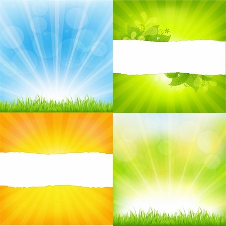 Green And Orange Backgrounds With Sunburst, Vector Background Stock Photo - Budget Royalty-Free & Subscription, Code: 400-05921307