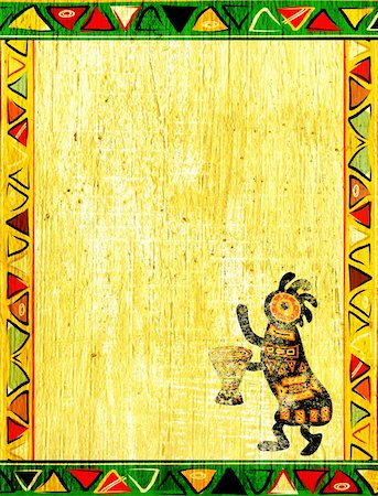 Dancing musician. Grunge background with African traditional patterns Stock Photo - Budget Royalty-Free & Subscription, Code: 400-05922952