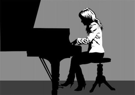Vector drawing of a woman playing piano on stage Stock Photo - Budget Royalty-Free & Subscription, Code: 400-05923166