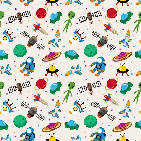 seamless space pattern Stock Photo - Budget Royalty-Free & Subscription, Code: 400-05923895