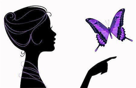 beautiful girl silhouette with butterfly Stock Photo - Budget Royalty-Free & Subscription, Code: 400-05923913