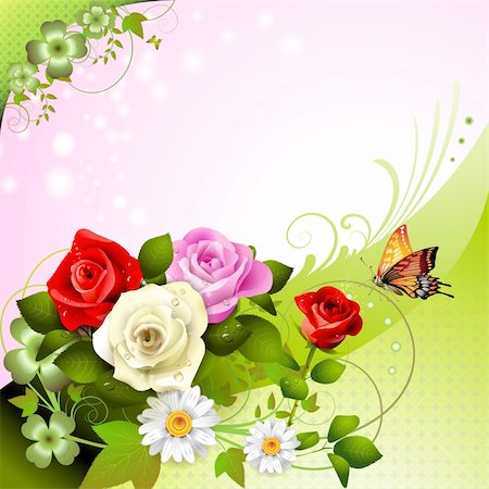 rose vector - Background with roses and butterflies Stock Photo - Budget Royalty-Free & Subscription, Code: 400-05934647