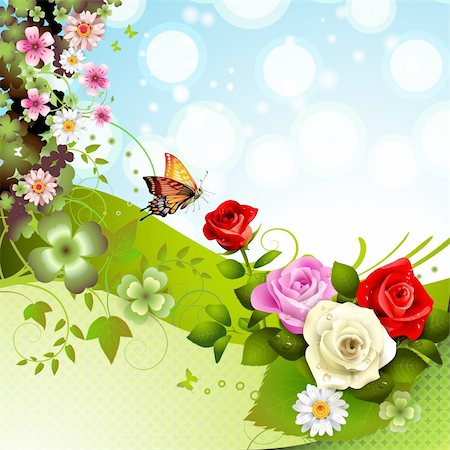Background with roses and butterflies Stock Photo - Budget Royalty-Free & Subscription, Code: 400-05934648