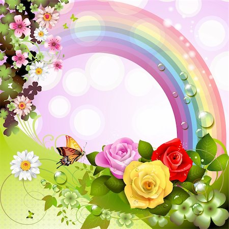Springtime background with flowers and butterflies Stock Photo - Budget Royalty-Free & Subscription, Code: 400-05934650