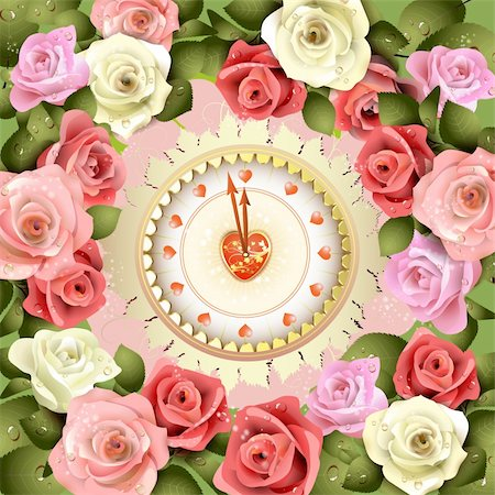 Clock design with Valentine's day theme and roses Stock Photo - Budget Royalty-Free & Subscription, Code: 400-05934673