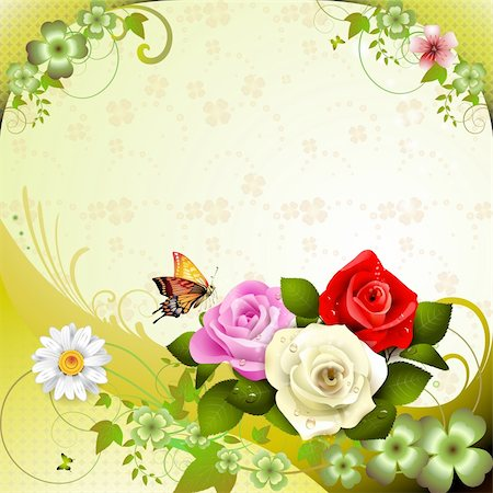 Background with roses and butterflies Stock Photo - Budget Royalty-Free & Subscription, Code: 400-05934694