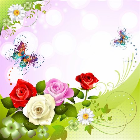 rose vector - Background with roses and butterflies Stock Photo - Budget Royalty-Free & Subscription, Code: 400-05934695