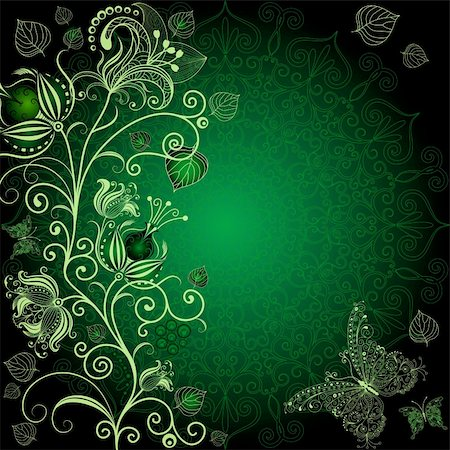 Dark green floral frame with flowers and butterflies (vector EPS 10) Stock Photo - Budget Royalty-Free & Subscription, Code: 400-05936132