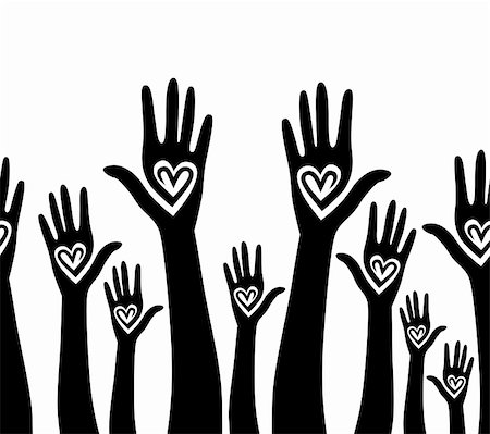 svetap (artist) - People support hand like heart united seamless background. Vector horizontal pattern illustration . Stock Photo - Budget Royalty-Free & Subscription, Code: 400-05936186