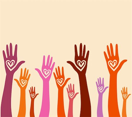 svetap (artist) - People support hand like heart united seamless background. Vector pattern illustration . Stock Photo - Budget Royalty-Free & Subscription, Code: 400-05936189