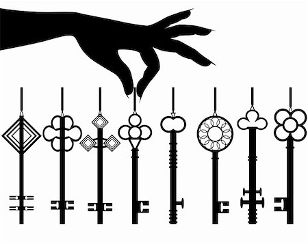 finger holding a key - Silhouette female hand hold key set for an auto or apartment or office. Vector illustration isolated on white  background. Stock Photo - Budget Royalty-Free & Subscription, Code: 400-05936191