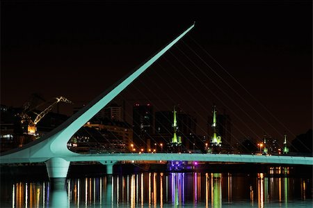 puentes - Bridge of the Woman (Puente De La Mujer) by night, Buenos Aires, Argentina Stock Photo - Budget Royalty-Free & Subscription, Code: 400-05936193