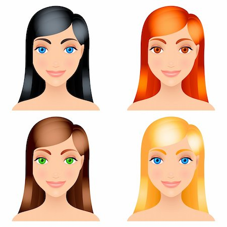 Four women with different color of hair. Stock Photo - Budget Royalty-Free & Subscription, Code: 400-05936613