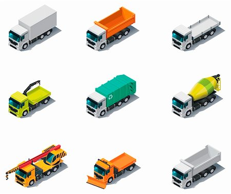 snow plow truck - Set of isometric generic trucks (different types) Stock Photo - Budget Royalty-Free & Subscription, Code: 400-05939161