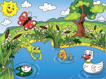 Cartoon kid's illustration of the pond life with a frog, fish, duck, butterfly and lotus Stock Photo - Budget Royalty-Free & Subscription, Code: 400-05933914