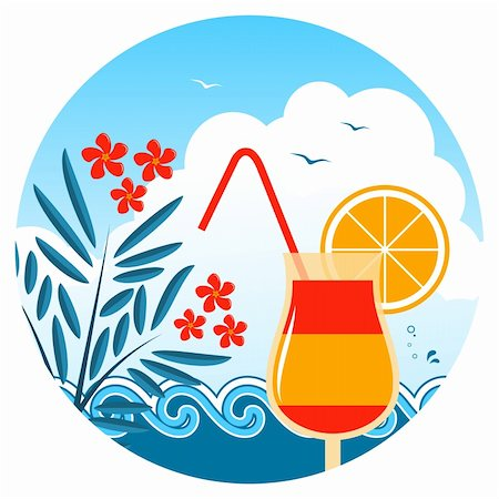 flores - vector cocktail on the beach, oleander and waves, Adobe Illustrator 8 format Stock Photo - Budget Royalty-Free & Subscription, Code: 400-05944023