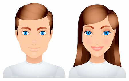 Cartoon man and woman in white clothes. Stock Photo - Budget Royalty-Free & Subscription, Code: 400-05946492
