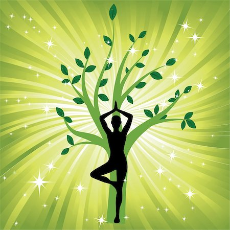 svetap (artist) - Woman in yoga tree asana sport on wave background. Man silhouette pose in front of leaves. Energy medicine vector illustration. Element for design. Stock Photo - Budget Royalty-Free & Subscription, Code: 400-05946519