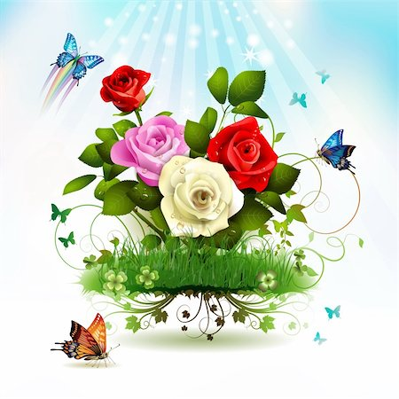 Roses on grass with butterflies Stock Photo - Budget Royalty-Free & Subscription, Code: 400-05946559