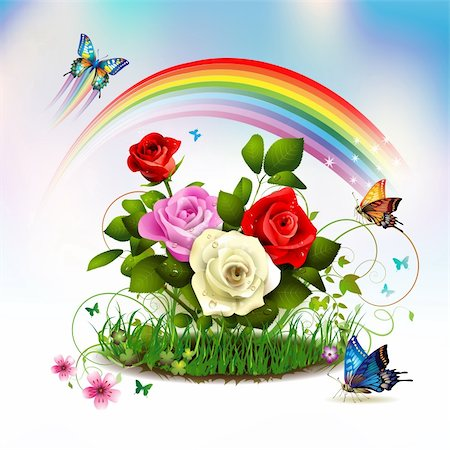 Roses on grass with butterflies and rainbow Stock Photo - Budget Royalty-Free & Subscription, Code: 400-05946560