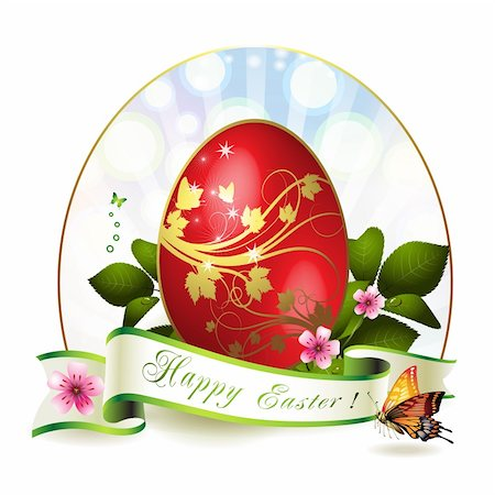 Easter card with red egg and butterfly Stock Photo - Budget Royalty-Free & Subscription, Code: 400-05946573