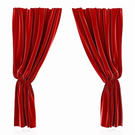 3d render of red curtain isolated at white background Stock Photo - Budget Royalty-Free & Subscription, Code: 400-05946773
