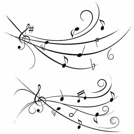 sheet music background - Various music notes on ornamental staff Stock Photo - Budget Royalty-Free & Subscription, Code: 400-05946788