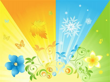 four seasons in the sun against the background Stock Photo - Budget Royalty-Free & Subscription, Code: 400-05946868